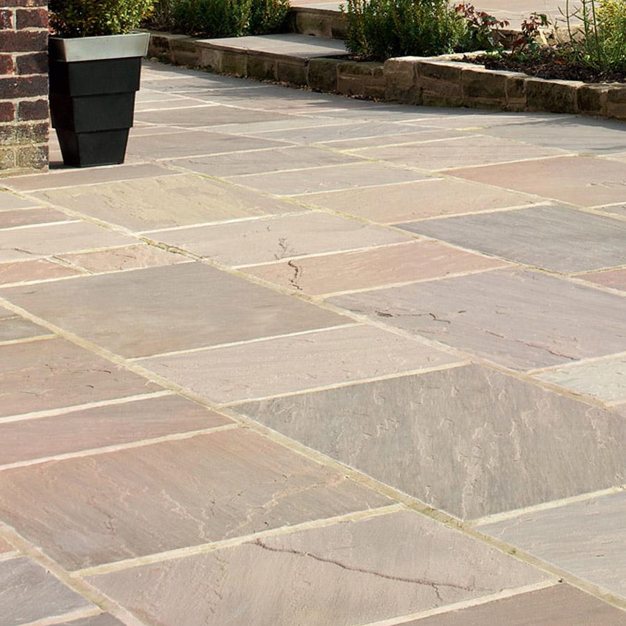 Natural sandstone paving