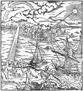 Woodcut illustration of Archimedes device.
