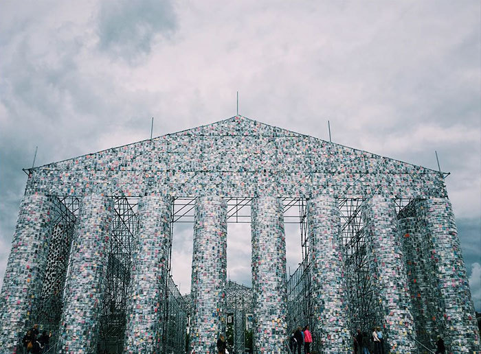 "sixpenceee: ""Art Made from Banned Books Argentinian artist Marta Minujín, 74, has created a monumental replica of the Greek Parthenon from 100,000 copies of banned books. According to the artist, it symbolizes the resistance to political..."
