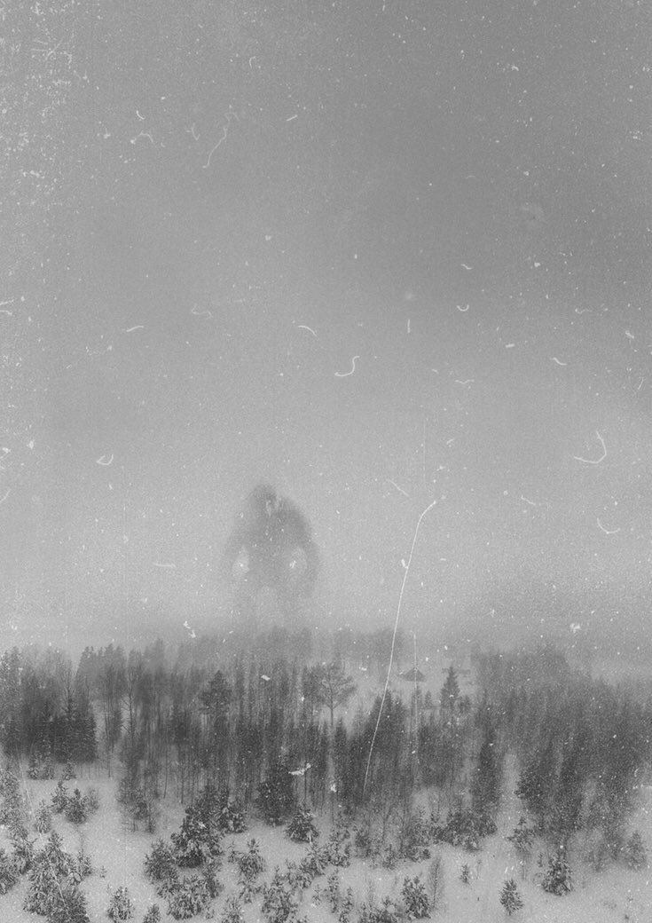 """unexplained-mysteries: """" Photo allegedly taken in December 1942 by the crew of an RAF recon flight 300 claimed to be of the """"Great Norwegian Mountain Troll."""" """" Nice pic, but since the Troll is well focused in the under arms, and the only well focused..."""