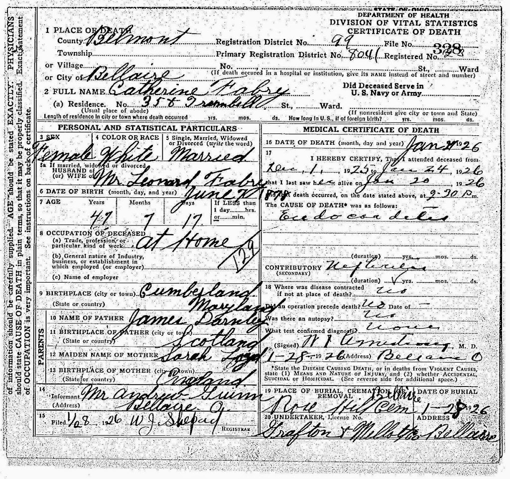 The many husbands of my 2nd great grandmother catherine darnley death certificate for catherine darnley family history library microfilm collection xflitez Images