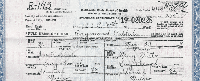 Benjamin Robledo, Birth Certificate