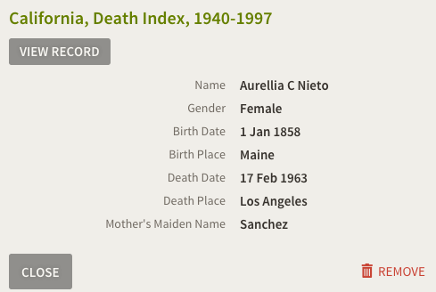 Aurelia Compean, California Death Index
