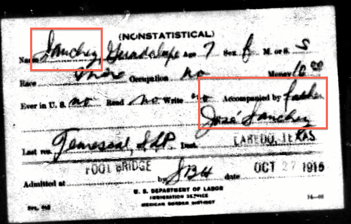Guadalupe Robledo, 1915 Border Card