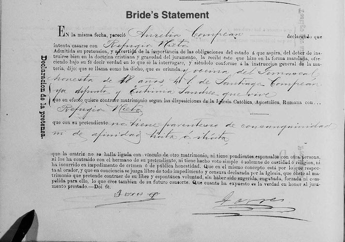 Refugio Nieto and Aurelia Compean Marriage - Bride's Statemenet