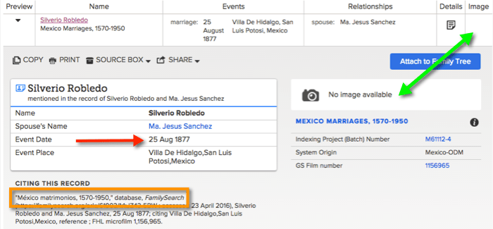 FamilySearch Index Entry for Silverio Robledo and Maria Jesus Sanchez Matrimonio