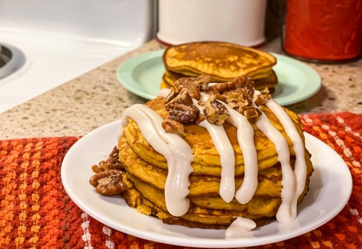 Keto Pumpkin Pancakes with Cream Cheese Glaze
