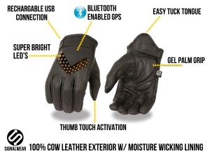 SignalWear Smart Motorcycle Gloves features