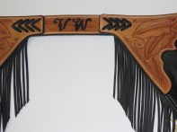 Reining Chaps with Barbwire & Feather Carving