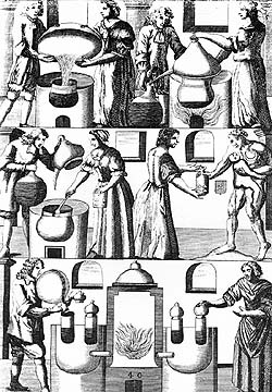 Alchemists in the laboratory, period illustration