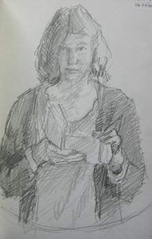 Ik teken, potlood in schetsboek, 2014