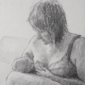 Voeden, potlood in schetsboek, 2014