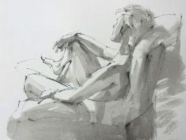 Modelstudie, rietpen en inkt op papier, 30x40 cm, 2016