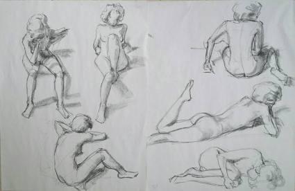 Modelstudies, krijt op papier, 65x100 cm, 2016