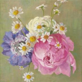 Huwelijksbloemen I, olieverf op linnen, 50x50 cm, 2017 [in opdracht]