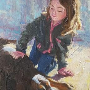 Meisje met hond, olieverf op paneel, 11.5x8 cm, 2018 [particulier bezit]