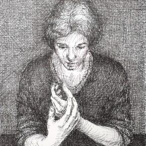 Handen, fineliner op papier, 15.5x12 cm, 2019
