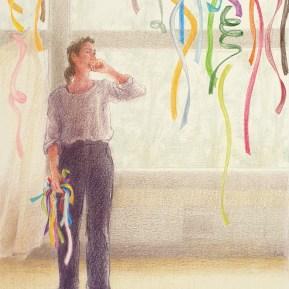 Over kiezen, kleurpotlood op papier, 22x17 cm, 2020