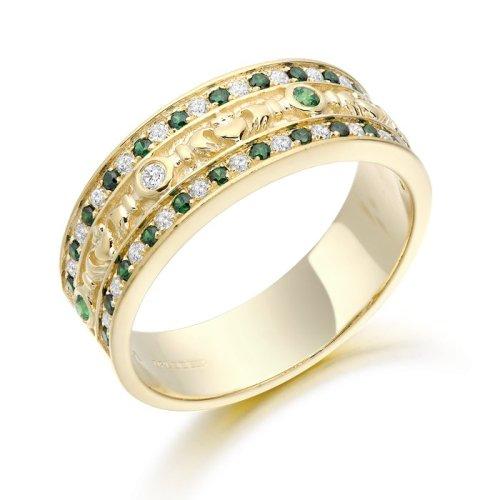 CZ and Emerald Claddagh Wedding Ring.