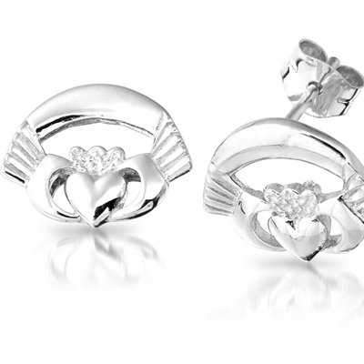 Silver Claddagh Earrings