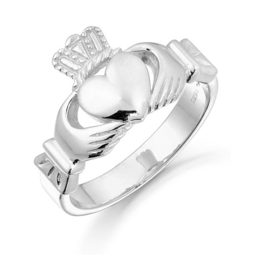9ct White Gold Claddagh Ring - 136AW