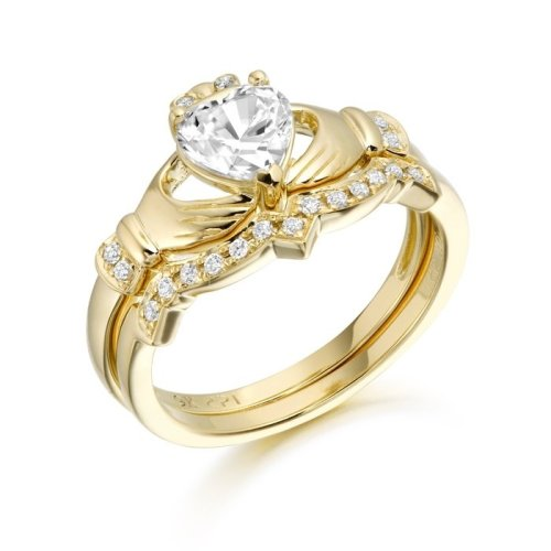9ct Gold CZ Claddagh Ring Set studded with Micro Pave stone setting - CL34CL