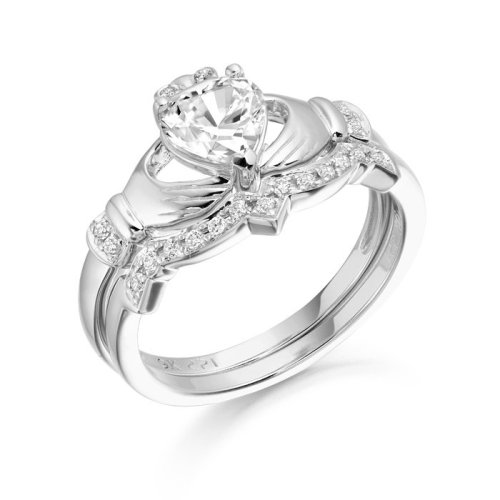 9ct White Gold CZ Claddagh Ring Set studded with Micro Pave stone setting - CL34WCL