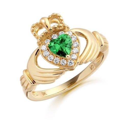 9K Gold CZ Emerald Claddagh Ring - CL28GCL