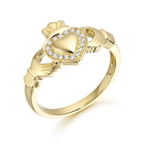 9ct Gold CZ Claddagh Ring with Puffed Heart studded with Micro Pave stone setting - CL32CL