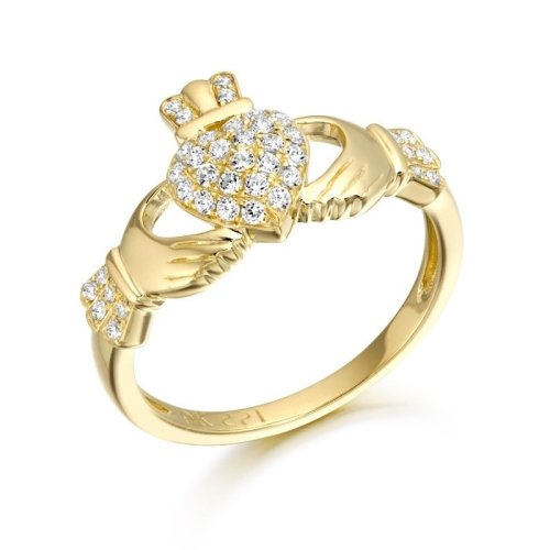 9ct Gold CZ Claddagh Ring studded with Micro Pave stone setting - CL39CL