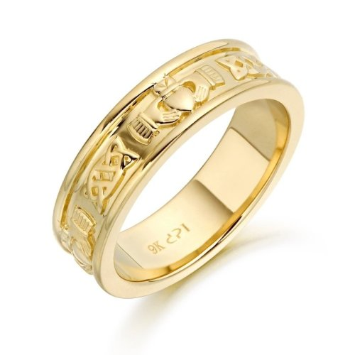 9ct Gold Claddagh Wedding Ring with embossed Claddagh and Celtic Motif - CL42CL