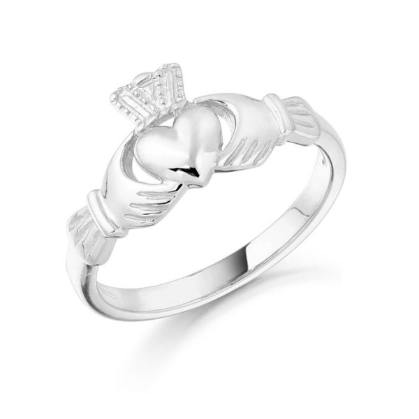 White Gold Claddagh Ring-CL8WCL