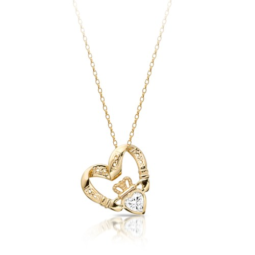 9ct Gold Floating Heart CZ Claddagh Pendant combined with Celtic Knot Design - P058CZS