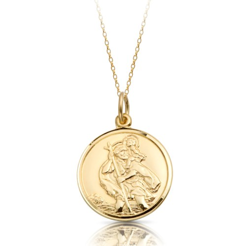 9ct Gold St Christopher Medal Pendant-ST3CL