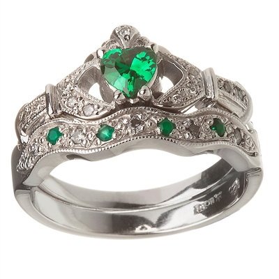 14k White Gold Emerald Set Heart Claddagh Ring Amp Wedding