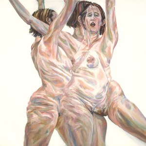 Oil painting of 3 overlapping figures of nude pregnant woman