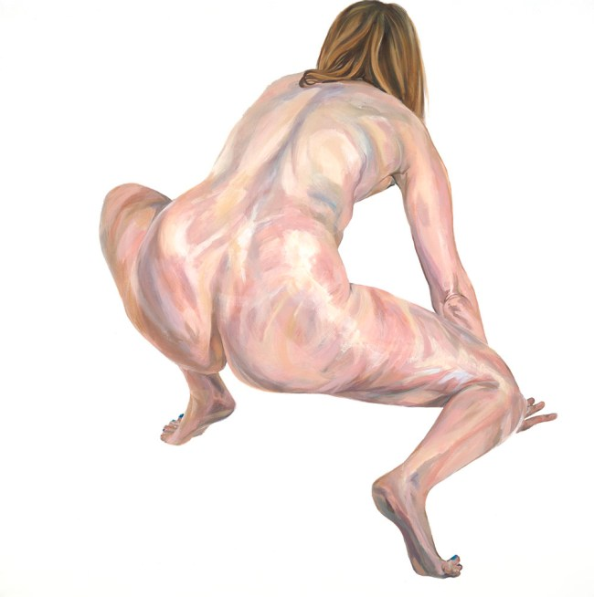 Oil painting, nude female figure crouched