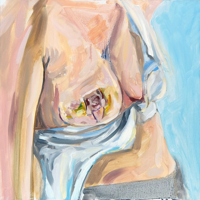 oil painting of my breast just after first surgery, a lumpectomy.