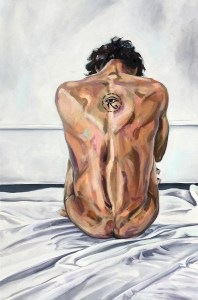 life-size oil painting of naked young man's back, showing tattoo.