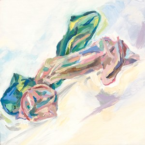 small oil painting of pink and green condom intertwined
