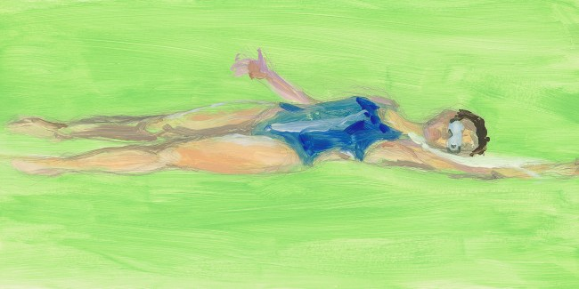 small oil painting of swimmer
