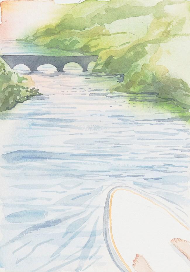 Watercolor painting of paddbleboard, feet, river and bridge