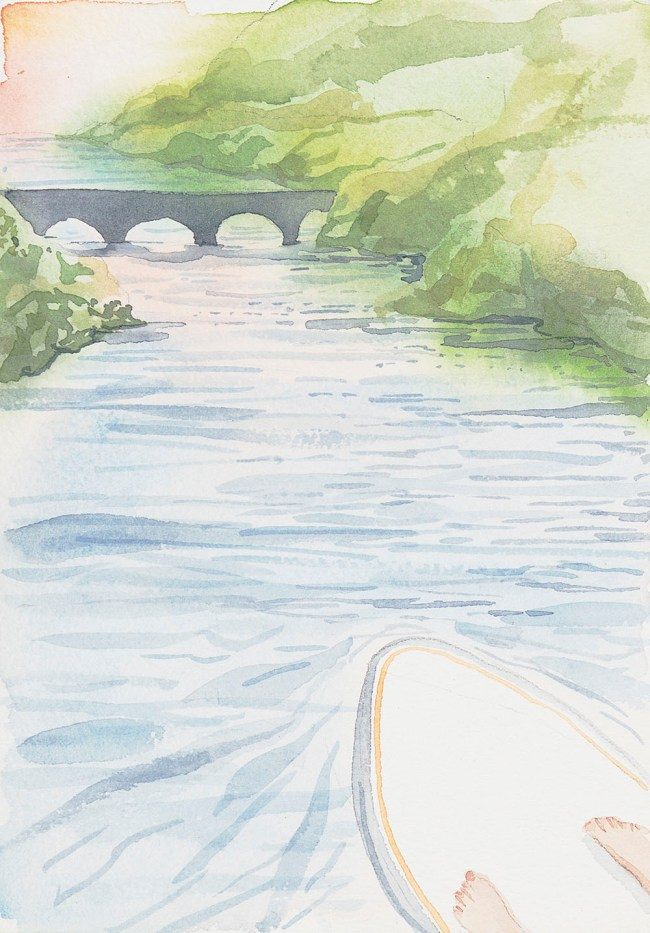 Watercolor painting of paddbleboard, feet, river and bridge