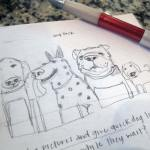 Trinity School Dog Pack Sketch 2 | Claire Dunaway Studios