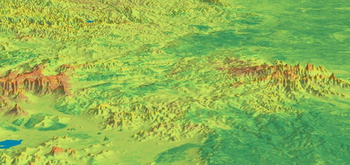 image of a landscape with bright colours depicting different levels of nutrients. Image credit: CSIRO