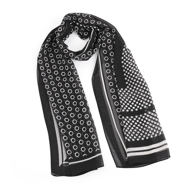 Black and white polka dot design scarf