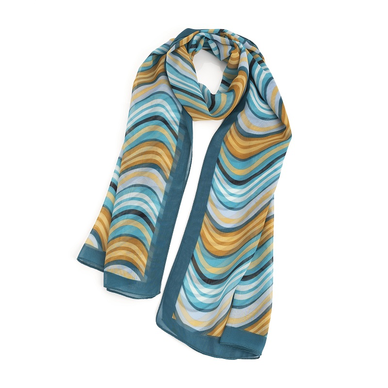 Blue tone wavy stripe design scarf