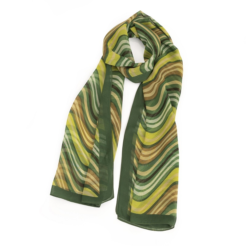 Green tone wavy stripe design scarf