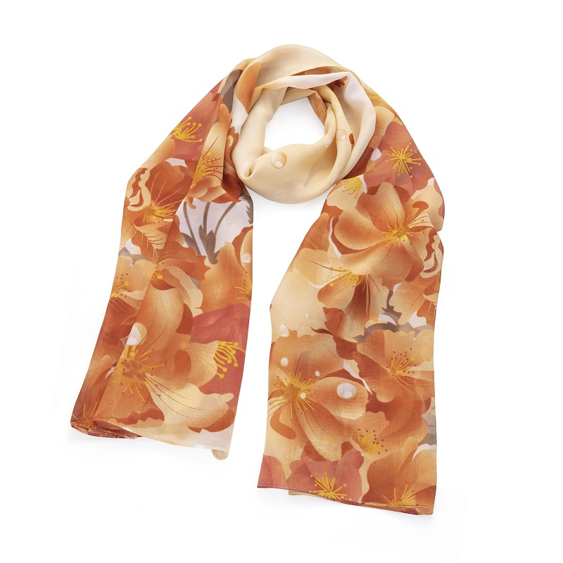 Peach tone chiffon effect flower design scarf