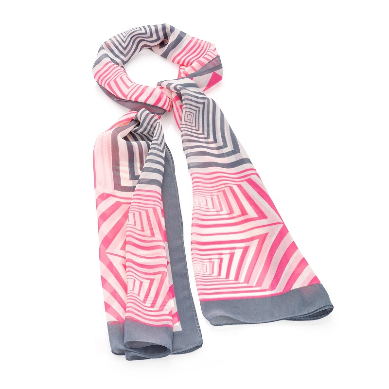 Pink And Grey Tone Square Print Scarf